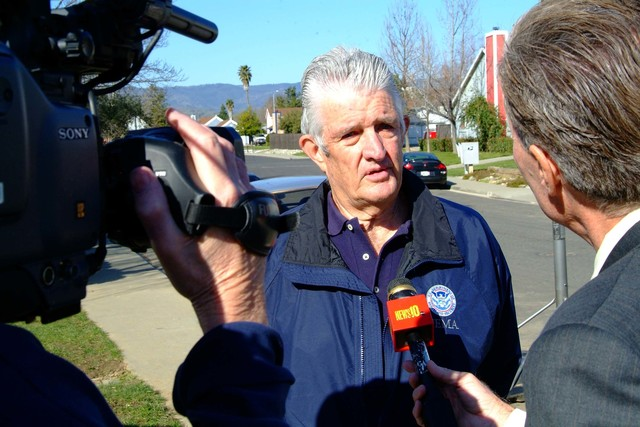 [Severe Storms, Flooding, Mudslides, and Landslides] Vacaville, CA, Feb., 22, 2006 - FEMA PIO John Treanor is interviewed by ABC 10 NEWS about recovery efforts regarding recent flooding  around Solano County. Photo by Adam DuBrowa.