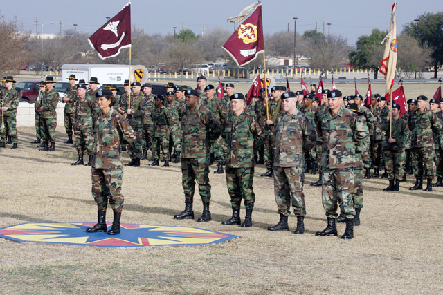 The U.S. Army 13th Corps Support Command was re-designated as the 13th Sustainment Command.  The Honor Guard and units of the 13th Sustainment Command lead by COL. Christine M. Gayagas and her staff are in formation on Guidon Field, during the Reorganization and Re-designation Ceremony held at Fort Hood, Texas. (U.S. Army PHOTO by John Byerly, CIV) (Released)