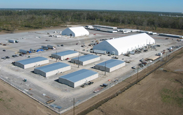 [Hurricane Katrina] Carville, LA March 1, 2006 -- Aerial of the Carville Victim Identification Center (Morgue). The facility assists local authorities when requested during a mass fatality incident. Mortuary affairs include body location, recovery and identification, FEMA photo