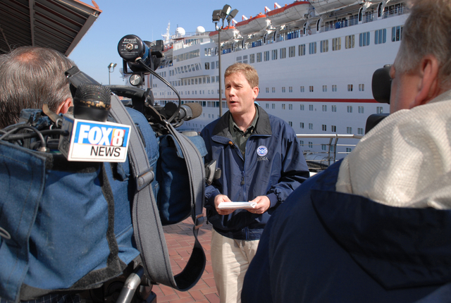 [Hurricane Katrina] New Orleans, St. Bernard, LA, 02-26-06 -- FEMA Public Affairs Officer, Dave Passey, talks to reporters at the Cruse ship Sensation about the successfull placement of cruse ship residents in long term housing.  FEMA is helping victims living on the Cruse ships find long term housing needs before the Ships contract expires March 1st and the ship sets sail.  Marvin Nauman/FEMA photo