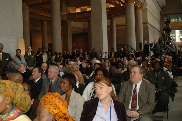 Audience at ceremony, at the Ted Weiss Federal Office Building in New York City, New York, marking the announcement of the designation of the 17th-18th Century African Burial Ground in lower Manhattan as a National Monument