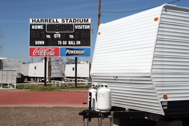 [Hurricane Katrina] New Orleans, LA, February 27, 2006 - Harrell Stadium is the site for a new FEMA travel trailer park ready to be occupied by displaced families affected by Hurricane Katrina for temporary housing.  Robert Kaufmann/FEMA
