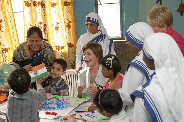 Mrs. Laura Bush Visits Mother Teresa's Jeevan Jyoti (Light of Life) Home for Disabled Children in New Delhi, India