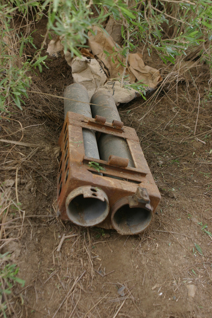 On March 2, 2006, A weapon cache was found by Marines with 3rd Platoon, 2nd Battalion, 6th Marines (2/6), Regimental Combat Team 5, while patrolling in the farmlands of Fallujah, Iraq during Operation Jaws V. I MEF FWD and MNF-W conduct counter-insurgency operations with Iraqi Security Forces to isolate and neutralize Anti-Iraqi Forces, to support the continued development of Iraqi Security Forces, and to support Iraqi reconstruction and Democratic elections in order to create a secure government that enables Iraqi self-reliance and self-governance. (U.S. Marine Corps photo by CPL. Adaecus G. Brooks) (Released)