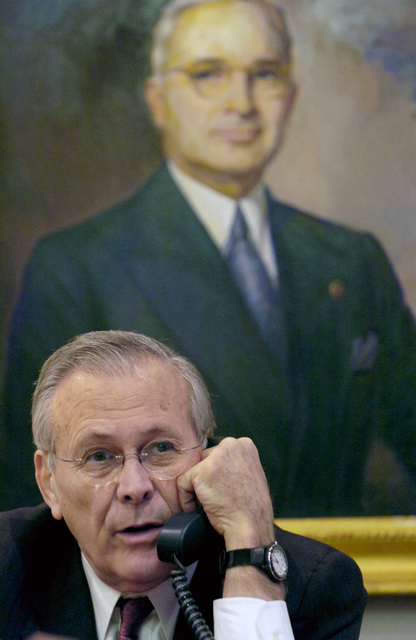 The Honorable Donald H. Rumsfeld, U.S. Secretary of Defense, conducts a radio interview during his visit at the Harry S. Truman Presidential Library in Independence, Mo., on March 2, 2006. The purpose of his visit was to pay tribute to the first U.S. president of the Cold War era and to consider what lessons might be drawn from that important period in our history. (DoD photo by PETTY Officer 1ST Class Chad J. McNeeley) (Released)