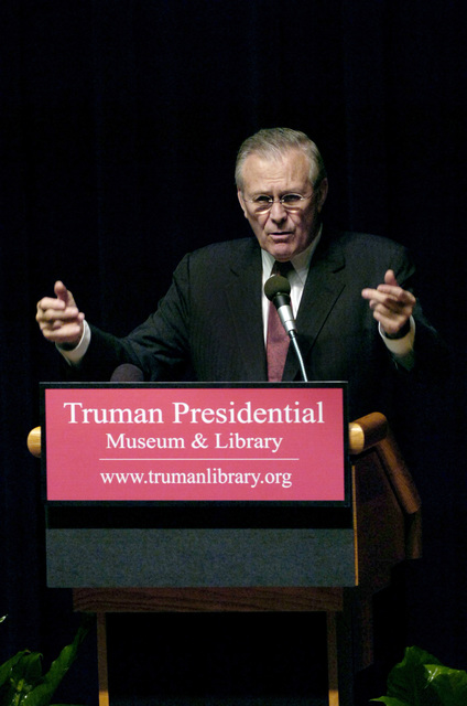 The Honorable Donald H. Rumsfeld, U.S. Secretary of Defense, speaks at a reception during his visit at the Harry S. Truman Presidential Library in Independence, Mo., on March 2, 2006. The purpose of his visit was to pay tribute to the first U.S. president of the Cold War era and to consider what lessons might be drawn from that important period in our history. (DoD photo by PETTY Officer 1ST Class Chad J. McNeeley) (Released)