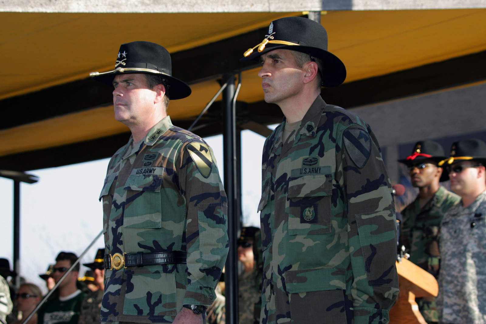 U S  Army Command SGT  MAJ  Philip F  Johndrow (right