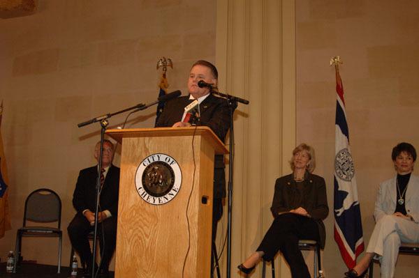 Cheyenne, Wyoming Mayor Jack Spiker speaking at Cheyenne