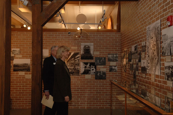 Secretary Gale Norton, right, accompanied by the Chief Executive Officer of the Cheyenne, Wyoming Depot Museum, Wayne Hansen, on tour of the Museum and Union Pacific Railroad Depot during Norton's visit to Cheyenne for ceremony marking designation of the Depot as a National Historic Landmark