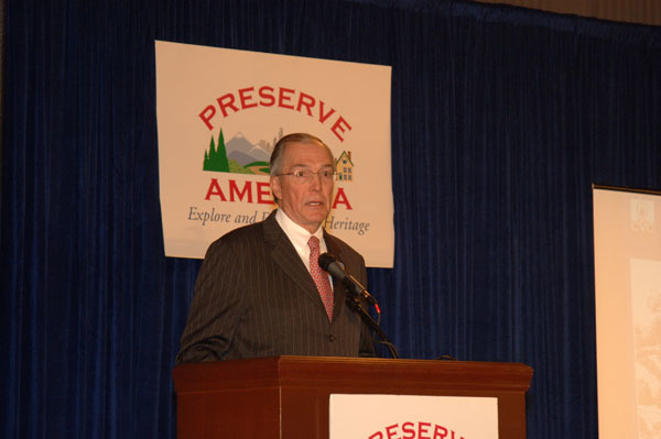 Chairman of the Advisory Council on Historic Preservation, John Nau III, speaking at Capitol Hill ceremony, Washington, D.C., marking announcement of first round of Preserve America grants and designation of  first five Preserve America Community Neighborhoods