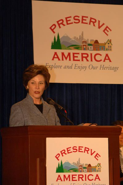 First Lady Laura Bush speaking at Capitol Hill ceremony, Washington, D.C., marking announcement of first round of Preserve America grants and designation of first five Preserve America Community Neighborhoods