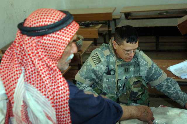 On March 8, 2006, U.S. Soldiers from Charlie, 2-22 Infantry on Military Police Liberty and Iraqi soldiers from 3rd Brigade, 6th Iraqi Army Division located on Forward Operating Base Constitution held a MEDCAP for the people of Al Jaddi Village. The purpose of the operation was to assist with humanity needs of local villagers and develop targetable intelligence. The MEDCAP was held at Al Jeel Al Arahi Primary School (Mix). A man is seen by U.S. Army CAPT. Swenness.(U.S. Army photo by STAFF SGT. Kevin L. Moses Sr.) (Released)
