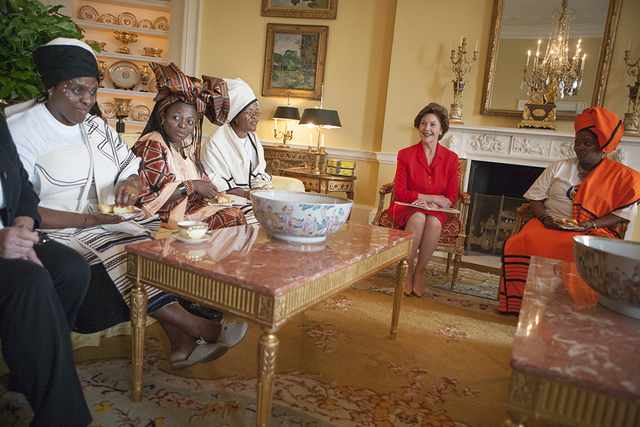 Mrs. Laura Bush Visits with Representatives from the Mothers to Mothers-To-Be Program of South Africa