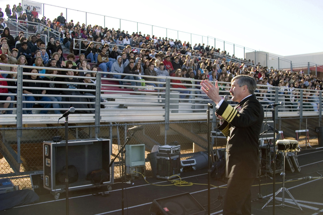 The student body of Paradise Valley High School listens to an address from US Navy (USN) Vice Director, Force Structure, Resources and Assessment Admiral (ADM) Evan M. Chanik. Chanik is participating in the weeklong Phoenix Navy festivities