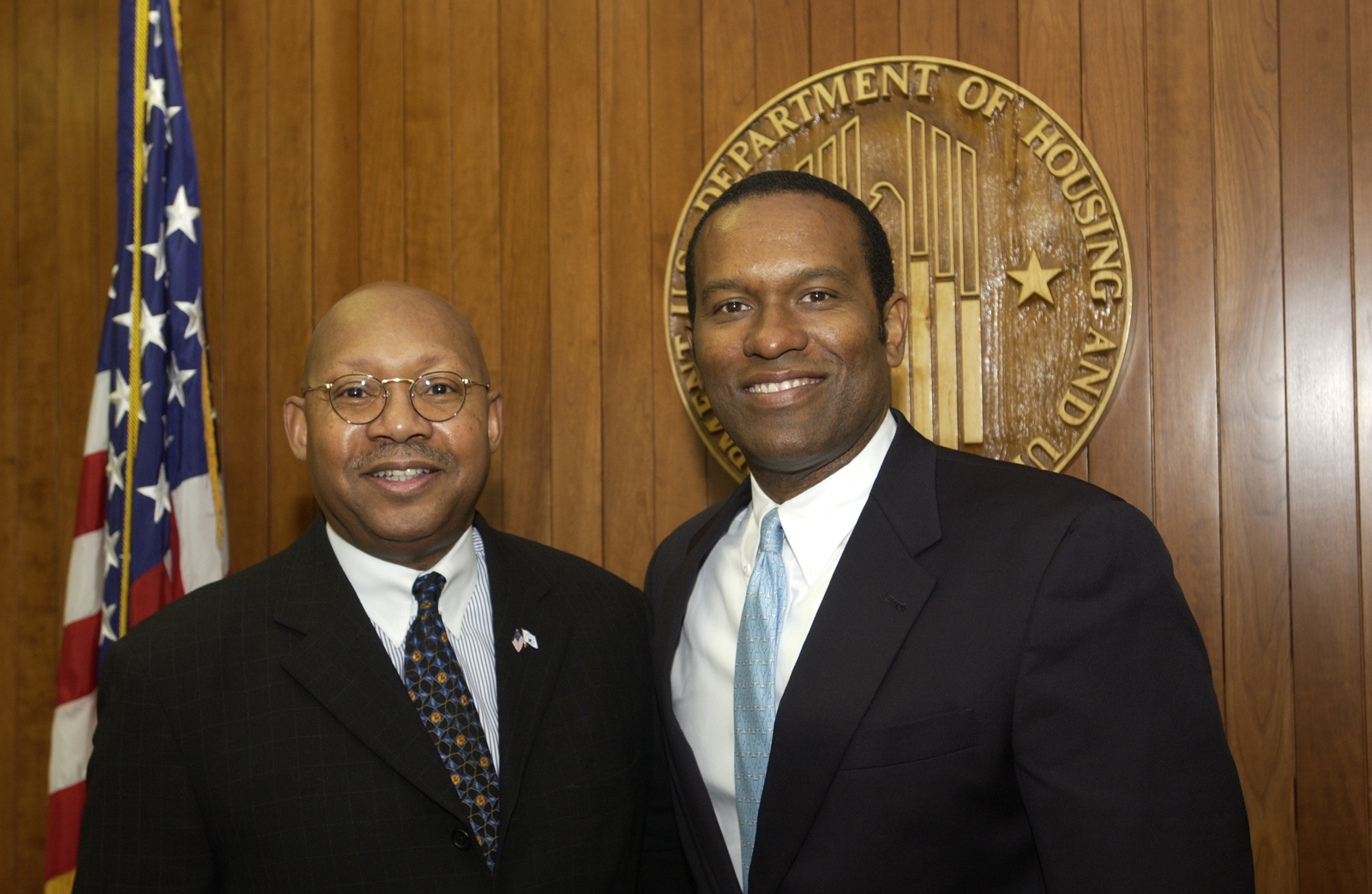 Secretary Alphonso Jackson with Terdema Ussery II - Secretary Alphonso Jackson meeting with Terdema Ussery II, [President and Chief Executive Officer of the National Basketball Association's Dallas Mavericks], at HUD Headquarters