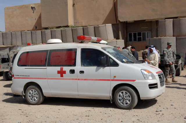 The people of Bayji, Iraq, were given a new ambulance at the Civilian and Military Operations Center on Forward Operating Base Summerall, Iraq, March 19, 2006, to help provide better health care to the community.   (U.S. Army photo by SPC. Charles W. Gill) (Released)