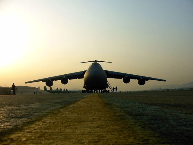 A Tennesee Air National Guard C-5 Galaxy undergoes a customs check at Daegu Air Base in Daegu, Korea before off-loading a Stryker platoon in support of RSOI/FOAL EAGLE on the morning of March 25, 2006. (U.S. Army photo by PFC. Nicholas A. Hernandez) (Released)