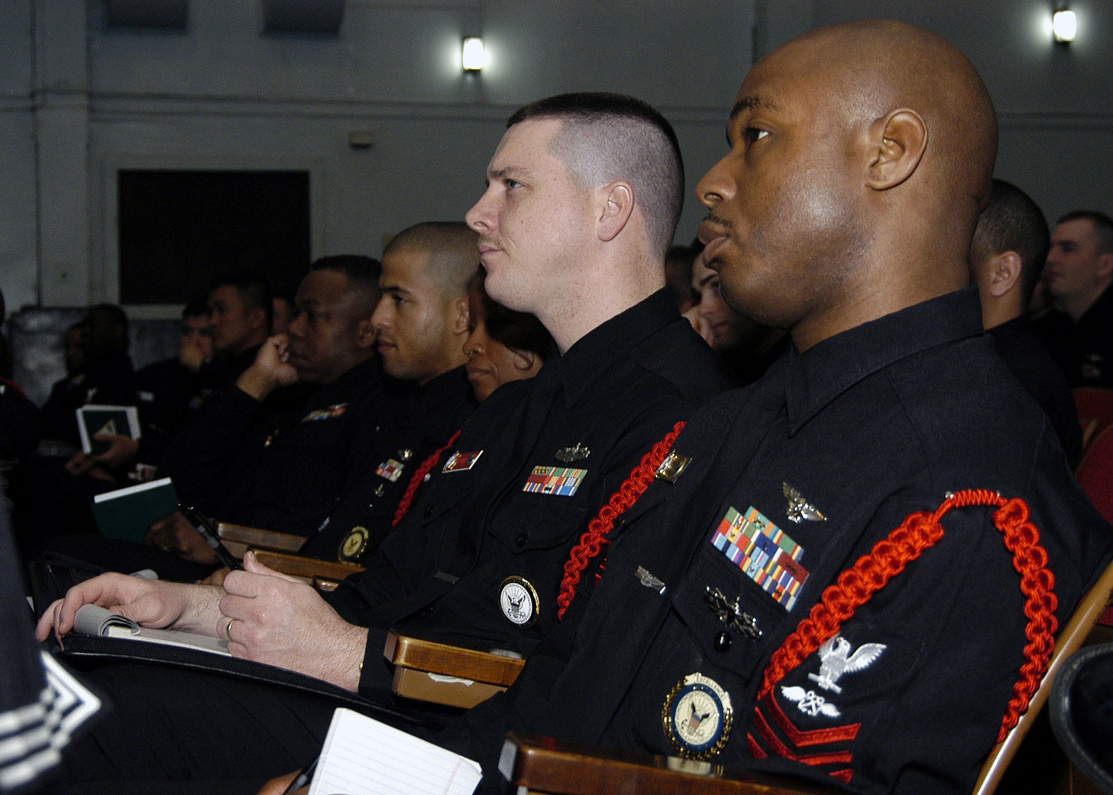 US Navy (USN) Enlisted Sailors who have obtained the rank of PETTY Officer First Class (PO1), from all over the nation attend the first ever, First Class Symposium held at the Navy Operational Support Center, Naval Air Station (NAS) Jacksonville, Florida (FL). The symposium had several guest speakers giving presentations and answering questions on advancement to CHIEF PETTY Officer (CPO), rights and responsibilities and other various opportunities the Navy has to offer its Sailors