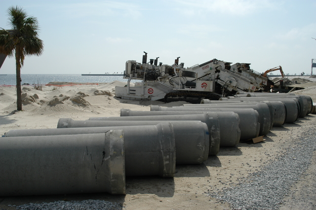 [Hurricane Katrina] Biloxi, Miss., April 1, 2006 - Sewer pipelines are being replaced along Highway 90. Hurricane Katrina damage took place underground as well as on the surface.  George Armstrong/FEMA