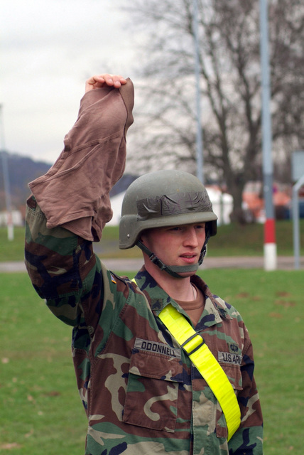 SGT. O'Donnell Displays personnel gear to earn his spurs. He is from 1ST Armored Division, 1ST U.S. Cavalry Regiment and are participating in a Spur Ride held April 3 and 4, 2006 in Buedingen Germany. (U.S. Army photo by Martin Greeson) (Released)