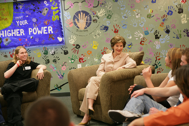 Mrs. Laura Bush Visits  Preferred Family Healthcare Adolescent Substance Abuse Rehabilitation Center in St. Louis