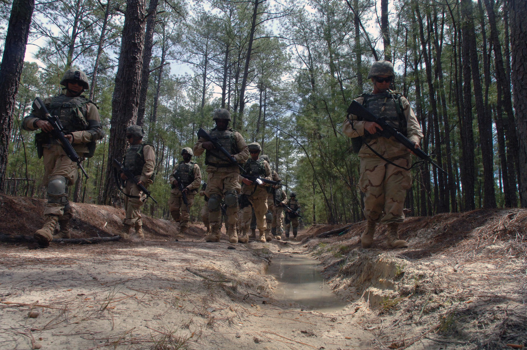 US Navy (USN) Sailors conduct patrol and troop leading operations during the US Navy's (USN) Individual Augmentee Combat Training (IACT) course at Fort Jackson, South Carolina (SC). The fast-paced, two-week course is instructed by US Army (USA) drill sergeants and designed to provide Sailors basic combat skills training prior to being deployed as individual augmentees to the US Central Command (USCENCOM) area of responsibility