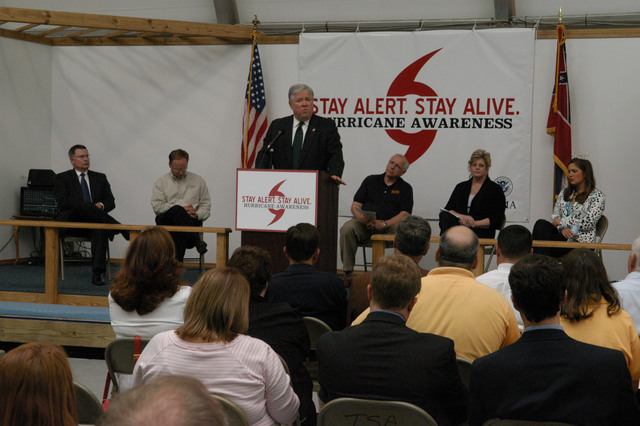 """[Hurricane Katrina] Biloxi, Miss., April 6, 2006 - Governor Haley Barbour, at the podium, and Mary Lynne Miller, FEMA acting Region IV Director, seated behind him, will announce to the public and media, that the """"Stay Alert, Stay Alive, Hurricane Awareness 2006"""" campaign is now underway. The Mississippi Emergency Management Agency (MEMA) and FEMA are partners in services to Hurricane Katrina victims, and in preparation for the coming hurricane season.  George Armstrong/FEMA"""