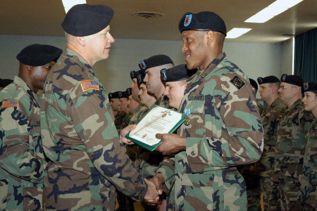 U.S. Army LT. COL. James F. Switzer (left) presents an award to one of his Soldiers, 2nd Platoon, Alpha Company, 1ST Battalion, 190th Military Police Provisional, Montana Army National Guard (MTARNG), at Fort Lewis, Wa., on April 6, 2006, during a demobilization ceremony.  (U.S. Army photo by Colleen J. Vandervest) (Released)