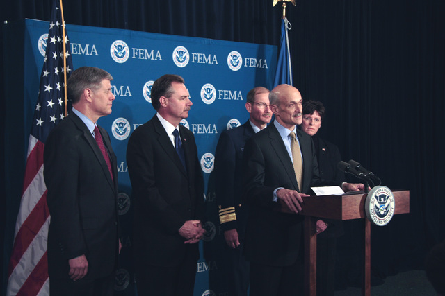 Washington, DC, April 6, 2006 -- Department of Homeland Security Secretary, Michael Chertoff announces President Bush's appointment of R. David Paulison as the Director of FEMA at FEMA Headquarters.  Also appointed are l-r, David Maurstad as FEMA's Mitigation Division director,  R. David Paulison FEMA Director, Vice Admiral Harvey E. Johnson, Jr. as the deputy director and chief operating officer of FEMA, and Deidre Lee who as deputy director of Operations.  Bill Koplitz/FEMA