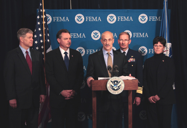 Washington, DC, April 6, 2006 -- Department of Homeland Security Secretary, Michael Chertoff announces President Bush's appointment of R. David Paulison as the Director of FEMA at FEMA Headquarters.  Behind him and appointed are l-r, David Maurstad as FEMA's Mitigation Division director,  R. David Paulison Director of FEMA, Vice Admiral Harvey E. Johnson, Jr. as the deputy director and chief operating officer of FEMA, and Deidre Lee who has been name deputy director of Operations.  Bill Koplitz/FEMA