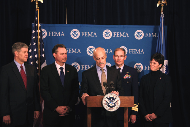 Washington, DC, April 6, 2006 -- Department of Homeland Security Secretary, Michael Chertoff, announces President Bush's appointment of R. David Paulison as the Director of FEMA at FEMA Headquarters.  Also appointed are l-r, David Maurstad as FEMA's Mitigation Division director,  R. David Paulison as FEMA Director, Vice Admiral Harvey E. Johnson, Jr. as the deputy director and chief operating officer of FEMA, and Deidre Lee who as the director of Operations.  Bill Koplitz/FEMA