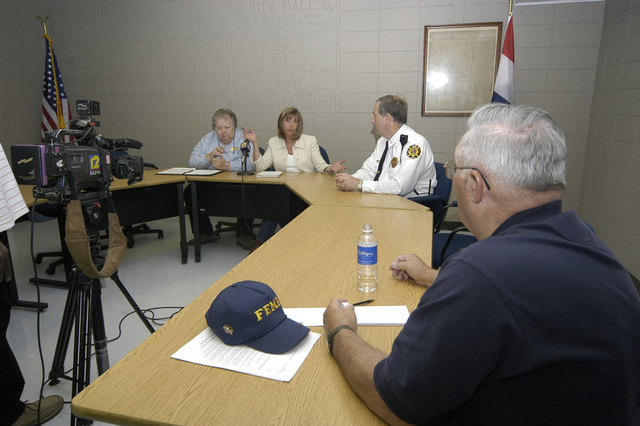 [Severe Storms, Tornadoes, and Flooding] Caruthersville, MO 4-11-06 --  Congresswoman JoAnn Emerson, R-MO participates in a town meeting with Diane Sayre, Mayor of Caruthersville to discuss the recovery effort underway in Caruthersville, MO. She was on a fact-finding trip and talked with representatives from FEMA about housing options.  Photo by Patsy Lynch/FEMA