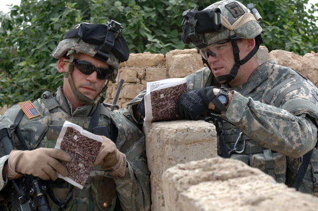 U.S. Army SGT. 1ST Class Brian Krcelic and STAFF SGT. Phanton from 1ST Platoon, Alpha Company, 1ST Battalion, 187th Infantry Regiment, 101st Airborne Division, discuss the progress of the mission while on patrol in Laq Laq, Iraq on April 11, 2006.  The purpose of the mission was to gather intellegence on locals residing in the area.   (U.S. Army photo by SPC. Charles W. Gill) (Released)