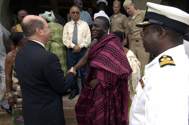 US Secretary of the Navy (SECNAV), The Honorable Dr. Donald C. Winter (right), meets with Traditional CHIEF Essikado during his visit at SEKONDI, Ghana (GHA). THE SECNAV focus while in Africa is to get a first-hand look at the work being done by US Navy (USN) Sailors and Marines deployed to the region