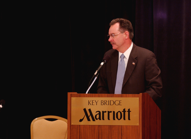 Arlington, VA, April 20, 2006 -- Acting Director of FEMA, R. David Paulison, makes opening remarks at the FEMA pre-hurricane planning/readiness conference.  FEMA/Bill Koplitz