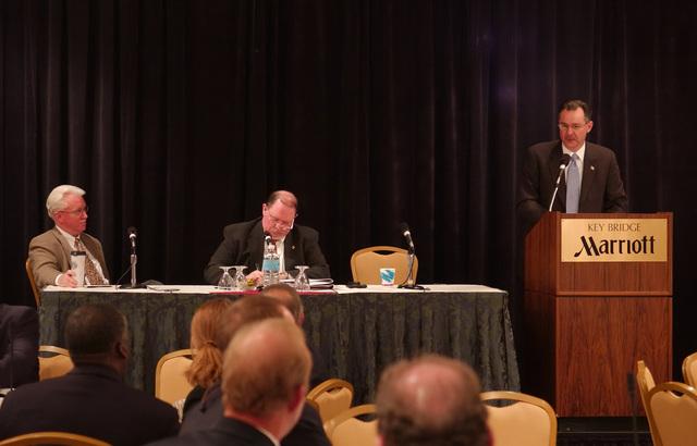 Arlington, VA, April 20, 2006 -- R. David Paulison, the Acting Director of FEMA makes opening remarks at the FEMA Pre-Hurricane Planning/Readiness Conference.  At the table are (l) David Garratt, Acting Director of FEMA's Recovery Division and Michael Lowder (r), FEMA Deputy Director Response Division.  FEMA/Bill Koplitz