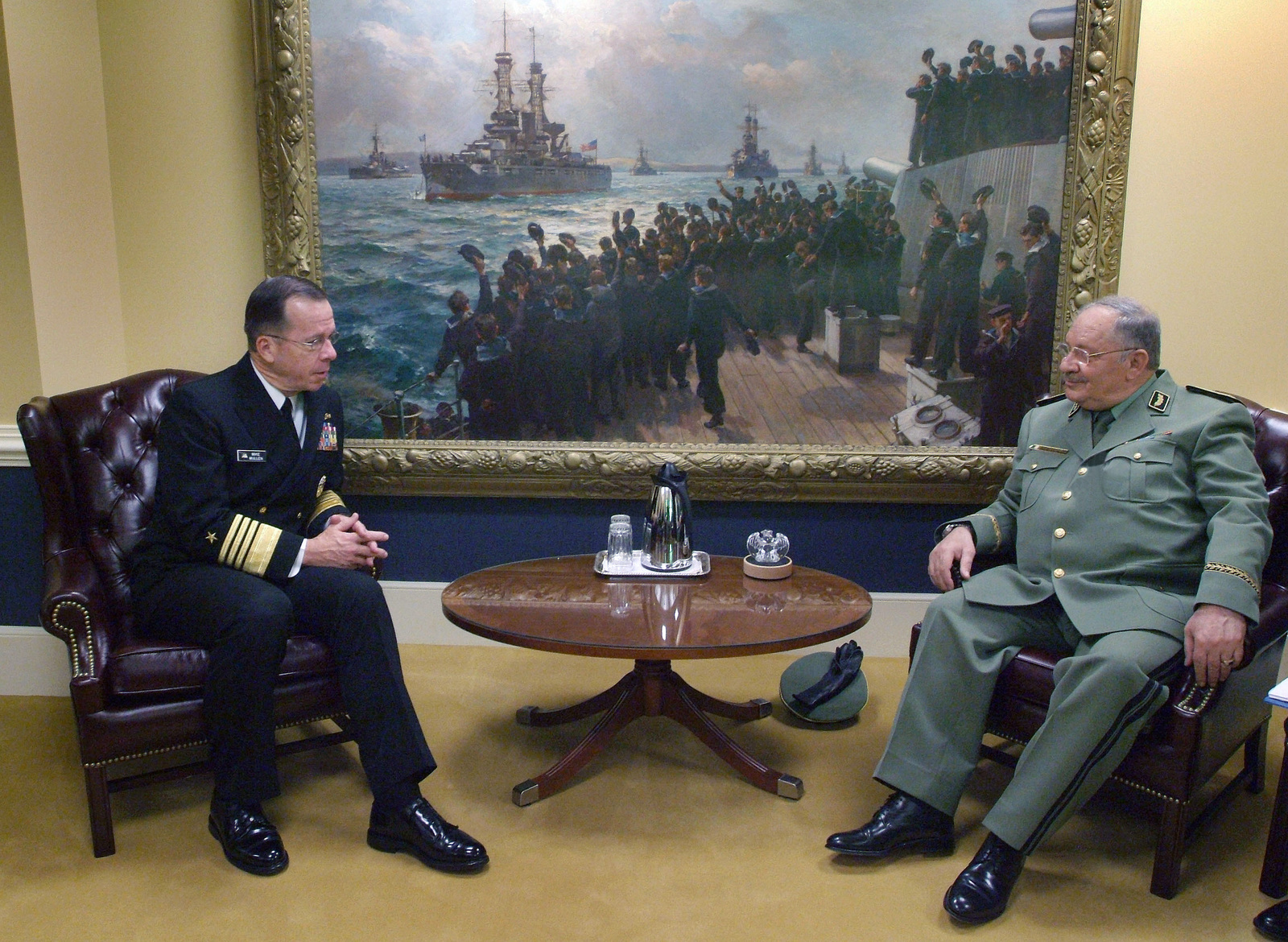 CHIEF of Naval Operations (CNO), US Navy (USN) Admiral (ADM) Michael G. Mullen (left), meets with Algerian CHIEF of STAFF, General (GEN) Ahmed Gaid-Salah, during his official visit to the Pentagon in Washington, District of Columbia (DC)