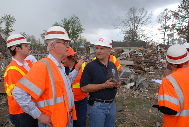 [Hurricane Katrina] New Orleans, LA, 4-21-06 -- Don Powell Federal Coordinator for Gulf Coast Rebuilding and FEMA FCO Scott Wells talk about recovery efforts in the 9th Ward.  Mr. Powell came to check the status of Disaster Recovery from Hurricane Katrina and saw first hand Debris removal efforts in the 9th Ward.  Marvin Nauman/FEMA photo
