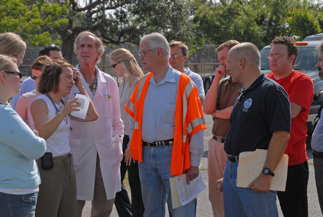 [Hurricane Katrina] New Orleans, LA, 4-21-06 -- Dorothy Davison, Nurse Practitioner, briefs Don Powell Federal Coordinator for Gulf Coast Rebuilding and FEMA FCO Scott Wells on operations at the Methodist Hospital Temporary Site location.  Mr. Powell came to check the status of Disaster Recovery from Hurricane Katrina and wanted to know what role other agencies were playing in the recovery efforts.  Marvin Nauman/FEMA photo