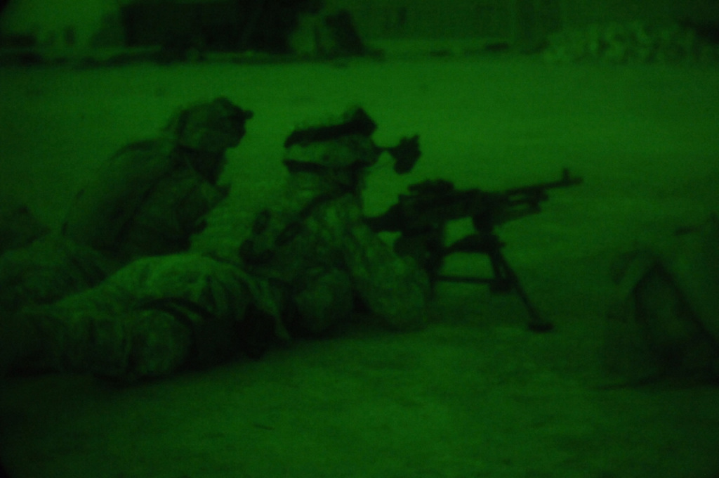 U.S. Army Soldiers on the Weapons Team, Charlie Company, 1ST Battalion, 187th Infantry Regiment, 101st Airborne Division provide security with a 240mm Machine Gun during an air assualt mission into Al Mara, Iraq on April 23, 2006.  The air assualt was part of Operation Swift Sword, a mission to root out Anti-Iraqi Forces, weapons caches and possible training camps.  (U.S. Army photo by SPC. Charles W. Gill) (Released)