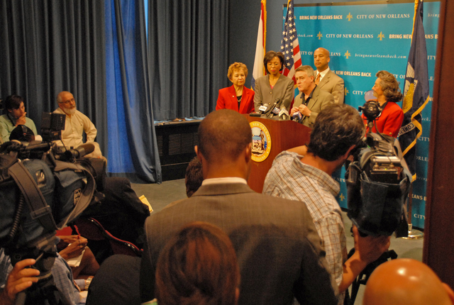 [Hurricane Katrina] New Orleans, LA, 4-26-06 -- Gil Jamieson, Deputy Director for the Gulf Coast Recovery, address the media on New Orleans City Mayor Nagin's decision to resend the executive order suspending development of temporary group housing sites in Orleans Parish.  These approvals by the Mayor will enable FEMA to continue to secure  much needed temporary housing sites.  Marvin Nauman/FEMA photo