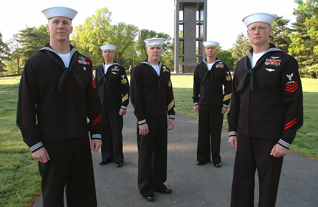 The five finalists in the US Navy Reserve (USNR) Sailor of the Year competition are pictured on the grounds of the Netherlands Carillon, located in Washington, District of Columbia (DC). Pictured left-to-right: US Navy Reserve (USNR) Hospital Corpsman First Class (HM1) Aaron P. Clifford; Aviation Warfare System Operator First Class (AW1) Robert F. Weber; HM1 David L. Worrell; HM1 Richard F. George; and Aviation Electronics Technician First Class (AT1) Todd P. Brooks. USNR HM1 David L. Worrell has been selected as the winner of this years competition
