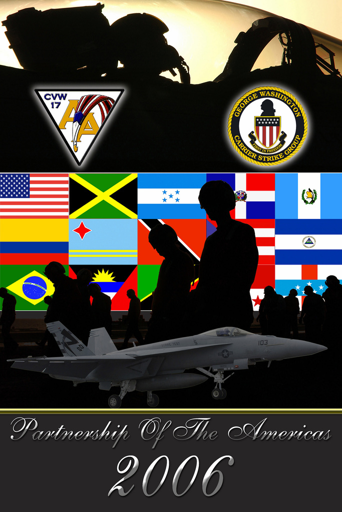 A US Navy (USN) graphic illustration by Photographer's Mate 2nd Class (PHM2) Roberto Taylor.  The illustration depicts The GEORGE WASHINGTON Carrier Strike group currently participating in Partnership of the Americas, a maritime training and readiness deployment of the US Naval Forces with Caribbean and Latin American countries in support of the US Southern Command (SOUTHCOM) objectives