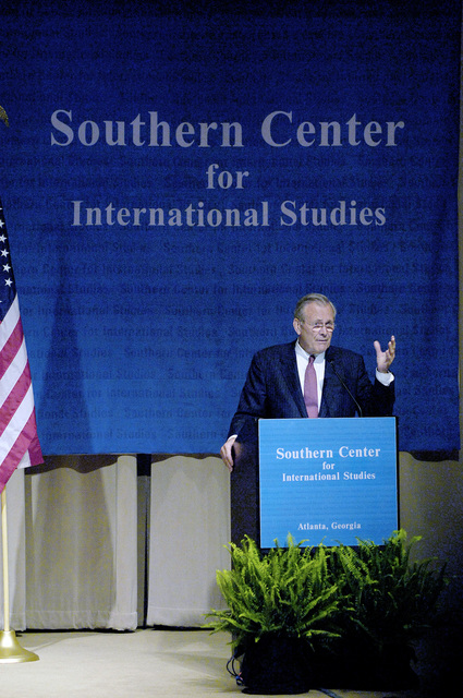 The Honorable Donald H. Rumsfeld, U.S. Secretary of Defense, speaks with leaders of the Southern Center for International Studies at the History Center, Atlanta Ga., on May 4, 2006.  (DoD photo by PETTY Officer 1ST Class Chad J. McNeeley) (Released)