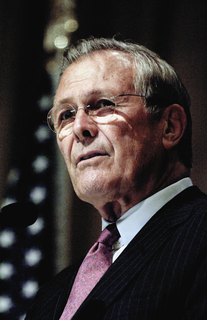 The Honorable Donald H. Rumsfeld, U.S. Secretary of Defense, speaks with leaders of the Southern Center for International Studies at the History Center in Atlanta Ga., on May 4, 2006. (DoD photo by PETTY Officer 1ST Class Chad J. McNeeley) (Released)