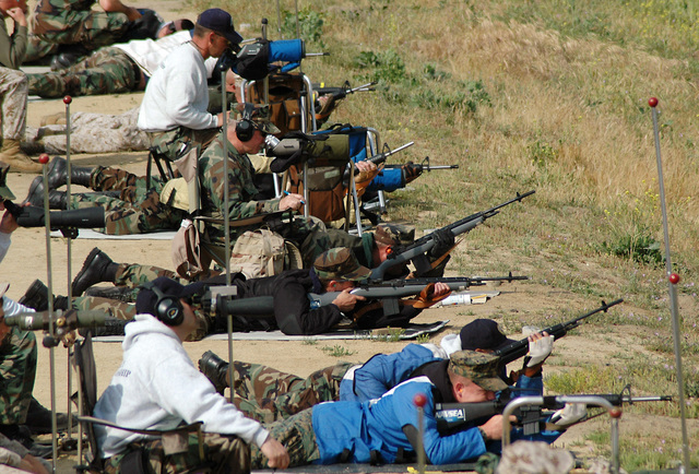 Teams of shooters participate in the 500-yard prone segment of the 2006 Fleet Forces Command (Pacific) Rifle and Pistol Championships. Sailors, Marines, Coast Guardsmen and civilians competed in team and individual divisions during the annual marksmanship competition.Calif. (May 52006)    Shooters participate in the prone 500-yard prone team stage of the 2006 Fleet Forces Command (Pacific) Rifle and Pistol Championships. SailorsMarinesCoast Guardsmen and civilians competed in team and individual divisions during the annual marksmanship competition. U.S. Navy photo by Journalist 1ST Class Brian Brannon