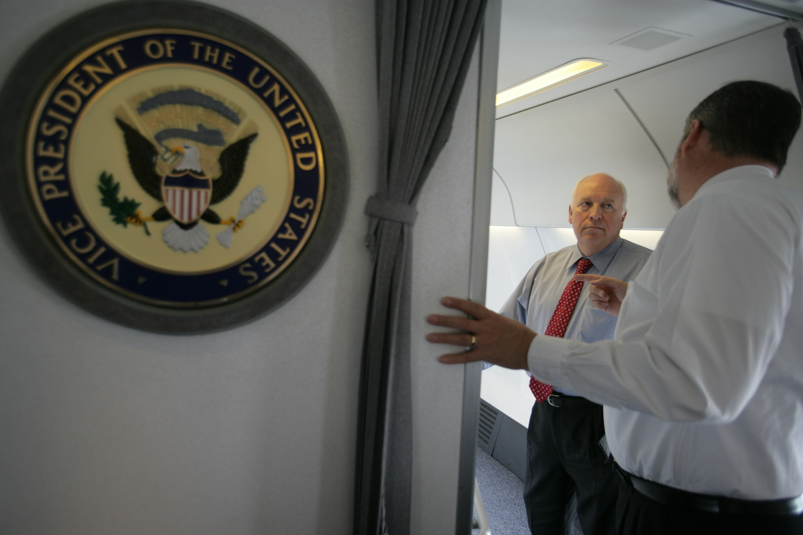 Vice President Cheney Talks with David Addington Aboard Air Force Two En Route to Astana, Kazakhstan