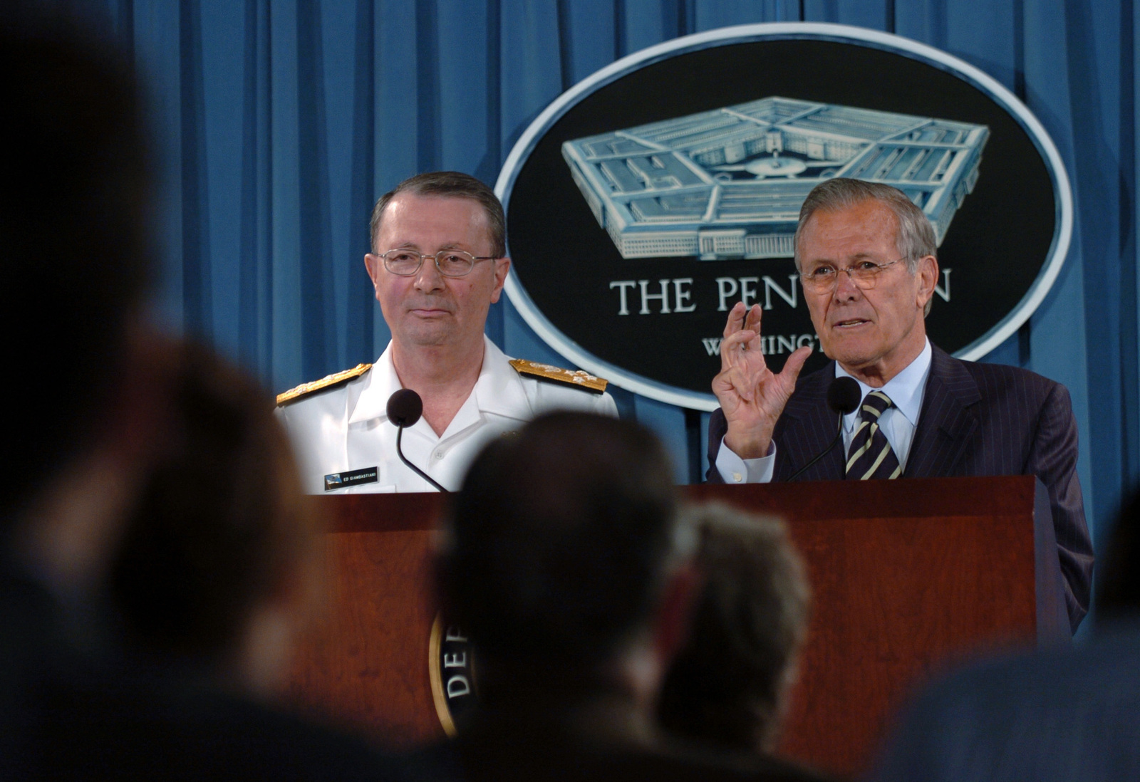 The Honorable Donald H. Rumsfeld (right), U.S. Secretary of Defense, and U.S. Navy Adm. Edmund Giambastiani (left), Vice Chairman of the Joint Chiefs of STAFF, address questions from the media in the Pentagon Press room, Washington, D.C., on May 9, 2006. (DoD photo by STAFF SGT. Myles D. Cullen) (Released)