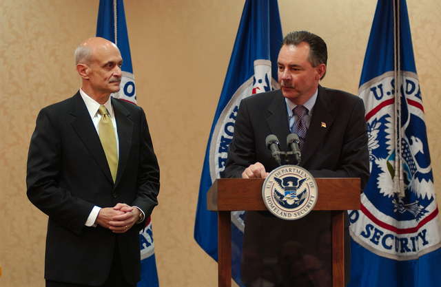 Washington, DC, May 11, 2006 -- FEMA Acting Director, R. David Paulison, introduces Michael Chertoff, The Secretary of the Department of Homeland Security, at an all hands meeting at FEMA headquarters.  FEMA/Bill Koplitz