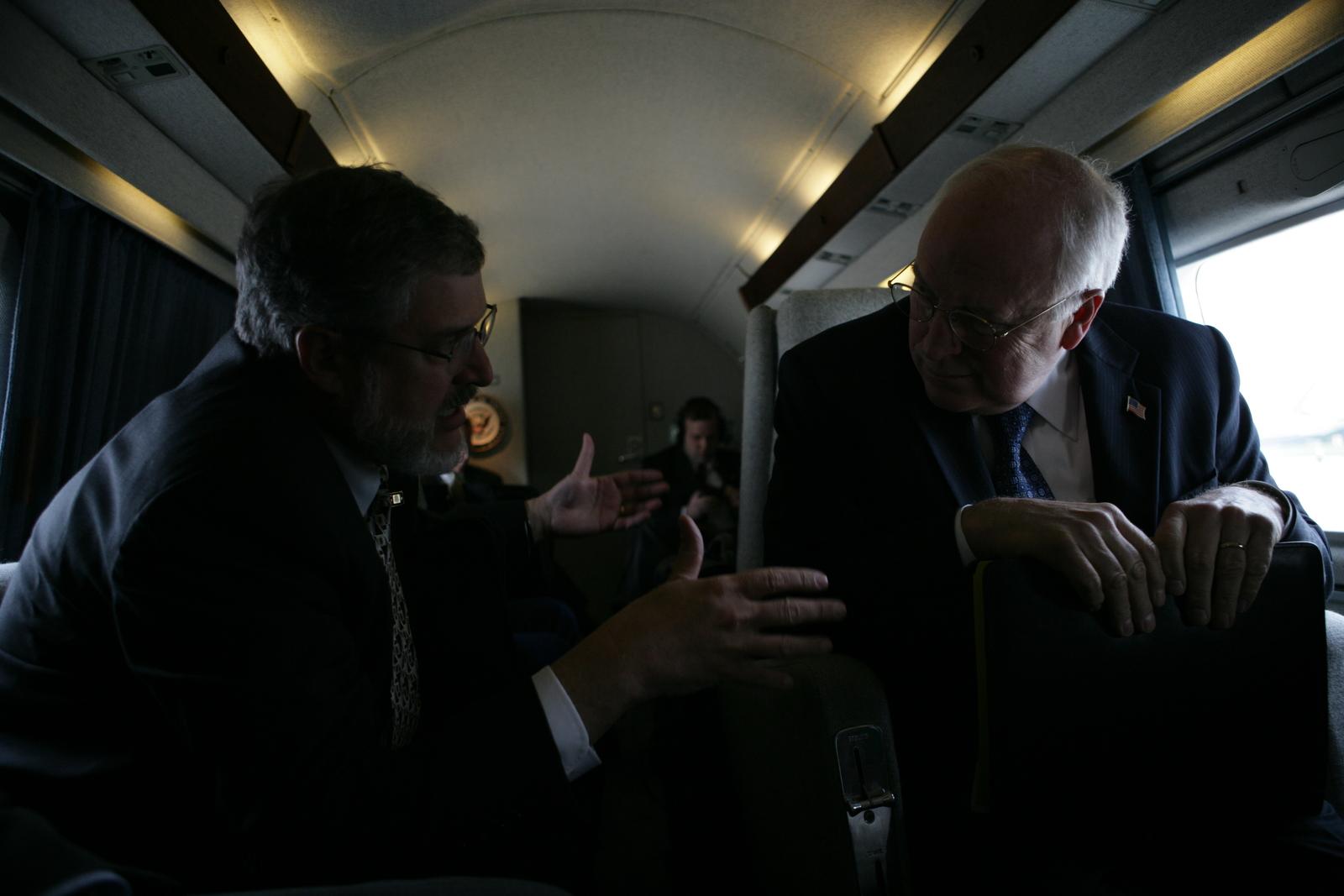 Vice President Cheney Talks with David Addington Aboard Marine Two